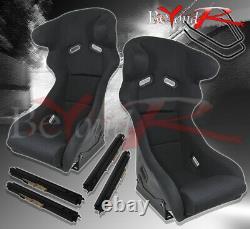 2X Pro Racer Spg Profi Style Bucket Racing Seats With Sliders & Head Support Black