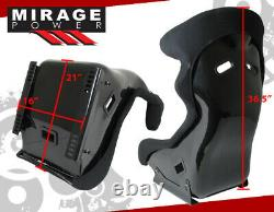 Black Bucket Racing Seats Pro Racer Spg Profi Style + Sliders & Head Support
