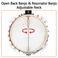 Glarry High Quality Professional Sapele Wood Metal 5-string Banjo