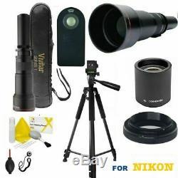Hd Telescope Telephoto Zoom Lens 650mm-2600mm + 60 Pro Tripod For Nikon D3400
