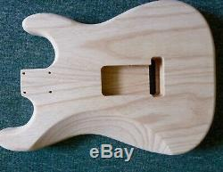 Left Handed Ash ST guitar body 44.5mm deep, 2 piece, centre joined pro quality LH