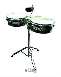 NEW PRO QUALITY FULL SIZE STEEL TIMBALE PERCUSSION DRUM SET with STAND & COWBELL