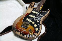 NEW Top Quality Relic SRV Electric Guitar Eged Hardware Alder Body Sunburst