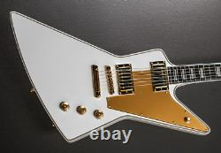 Naughty boy explorer white electric guitar gold parts customized high quality
