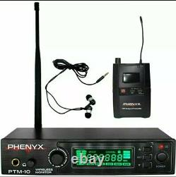 Phenyx Pro Ptm-10 UHF Stereo Wireless In Ear Audio Monitor System Select Freq