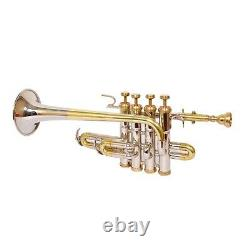 Pro Piccolo Trumpet 4 Valves Brass Nickel S1 Master's Choice with Hard Case & MP