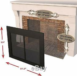 Professional High Quality AN-1010 Alpine Fireplace Glass Door, Black, Small