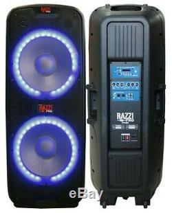 RAZZI PRO Prime Dual 15 4-Way PA DJ Active Power Speaker Bluetooth, USB + Stand