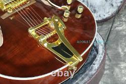 Top Quality Hollow Body L5 Electric Guitar Flamed Maple Top Brown Free Shipping