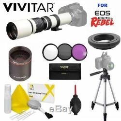White Line Pro Telescope Zoom Lens 500-1000mm For Canon Eos T3 T3i T5 T5i T2 T6